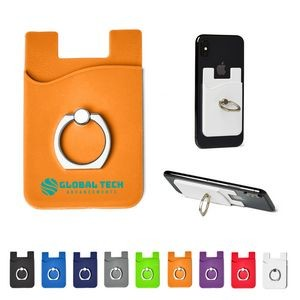 Silicone Card Holder w/Metal Ring Phone Stand
